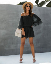 Load image into Gallery viewer, Chiffon Off Shoulder Romper in Black - Fisher Couture.com