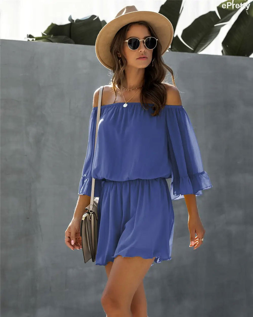 Chiffon Off Shoulder Romper in Blue - Fisher Couture.com