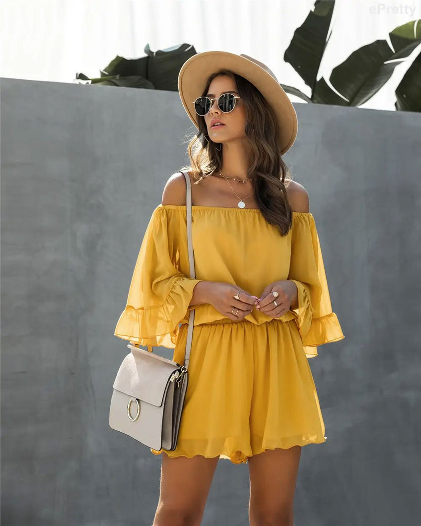 Chiffon Off Shoulder Romper in Yellow - Fisher Couture.com