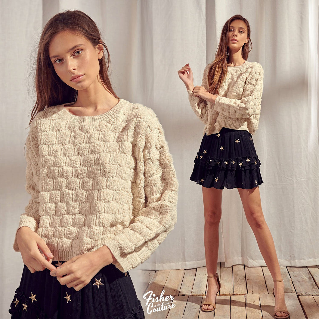 Fuzzy Basketweave Knit Sweater - Fisher Couture.com