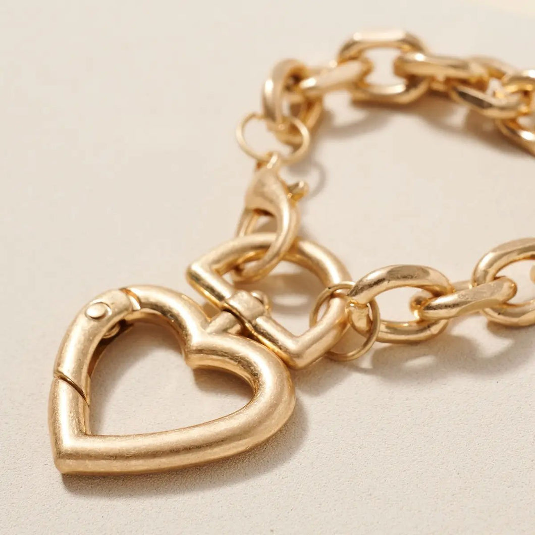 Heart Charm Chain Linked Metal Bracelet - Fisher Couture.com