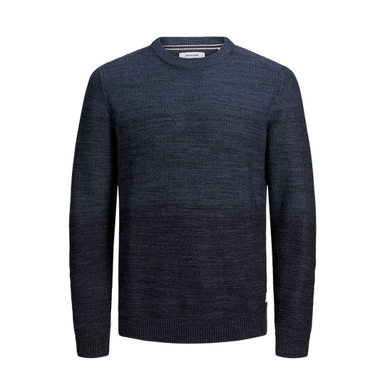JJEGRAHAM Knit Crew Neck Denim Blue - Fisher Couture.com