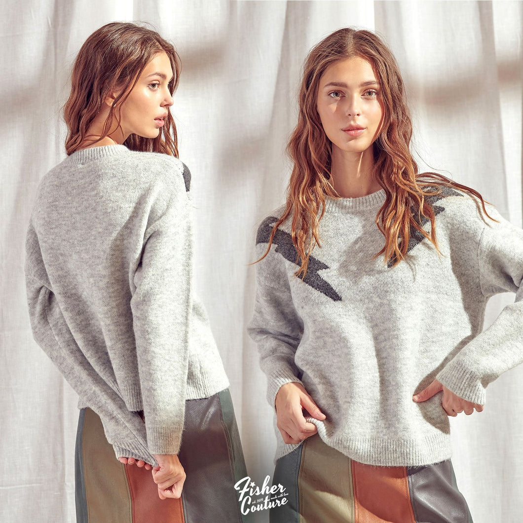 Lighting Bolts Pullover Knit Sweater - Fisher Couture.com
