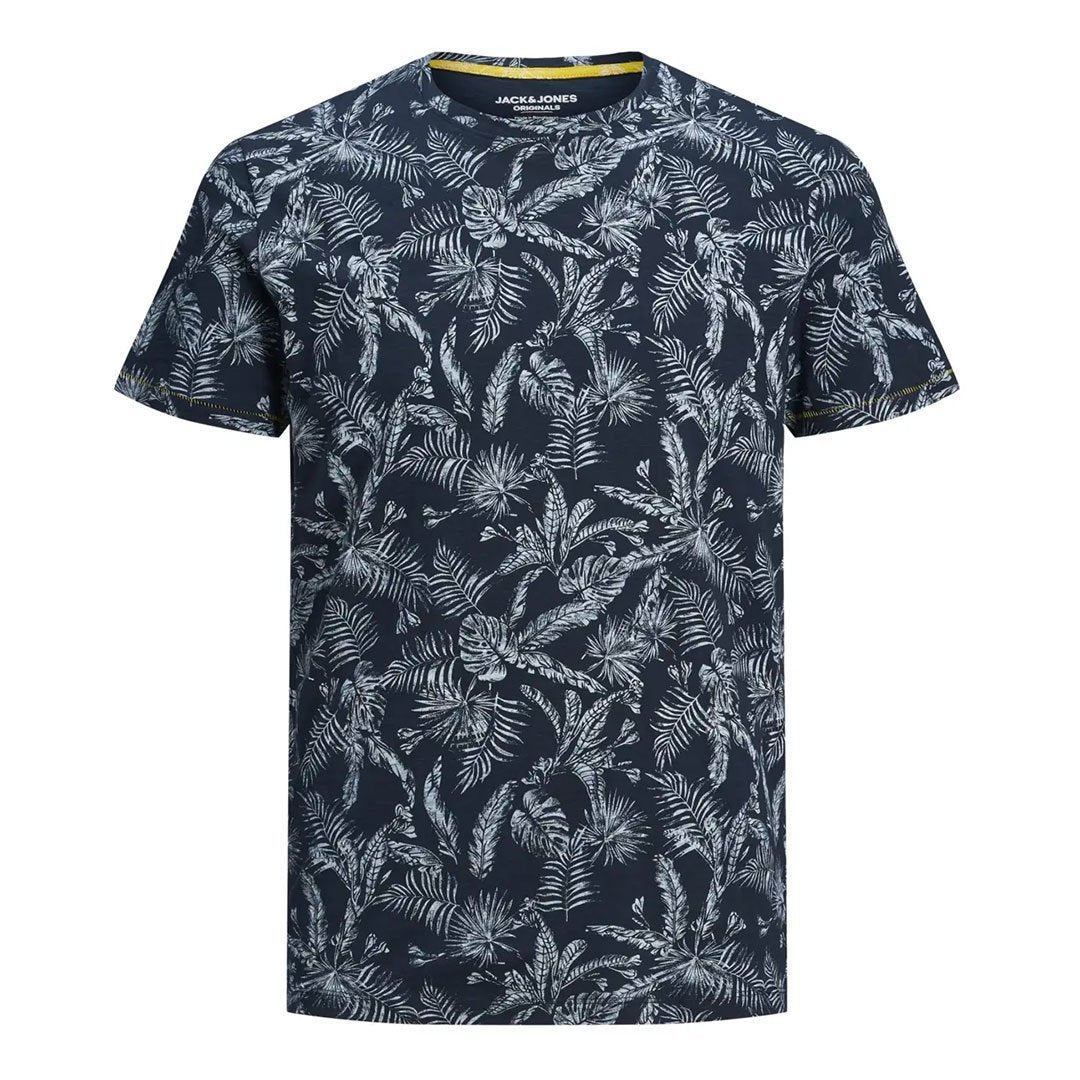 Mens Organic All Over Printed Crew Neck Tee Shirt Navy - Fisher Couture.com