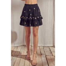 Load image into Gallery viewer, Metallic Striped and Embroidered Mini Skirt - Fisher Couture.com