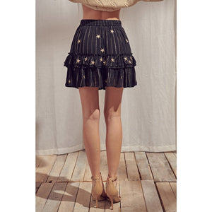 Metallic Striped and Embroidered Mini Skirt - Fisher Couture.com