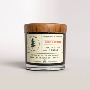 Rose & Spruce Soy Candle - Fisher Couture.com