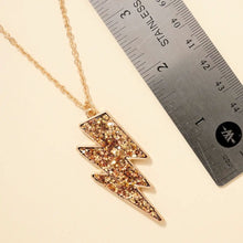 Load image into Gallery viewer, Thunder Bolt Gold Glitter Pendant Necklace - Fisher Couture.com