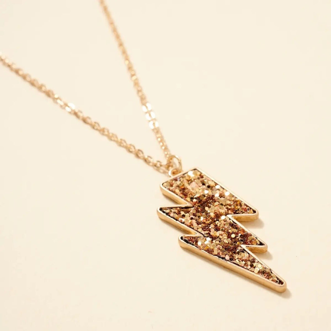 Thunder Bolt Gold Glitter Pendant Necklace - Fisher Couture.com