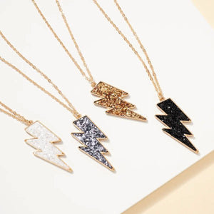 Thunder Bolt Silver Glitter Pendant Necklace - Fisher Couture.com