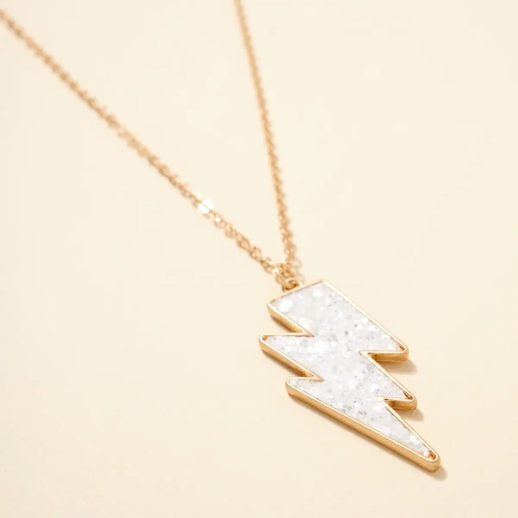 Thunder Bolt White Glitter Pendant Necklace - Fisher Couture.com