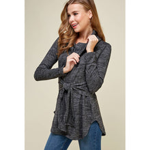 Load image into Gallery viewer, Tie Front Turtle Neck Sweater Pullover - Charcoal - Fisher Couture.com