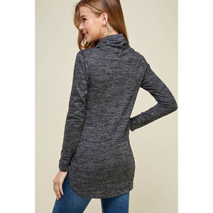 Tie Front Turtle Neck Sweater Pullover - Charcoal - Fisher Couture.com