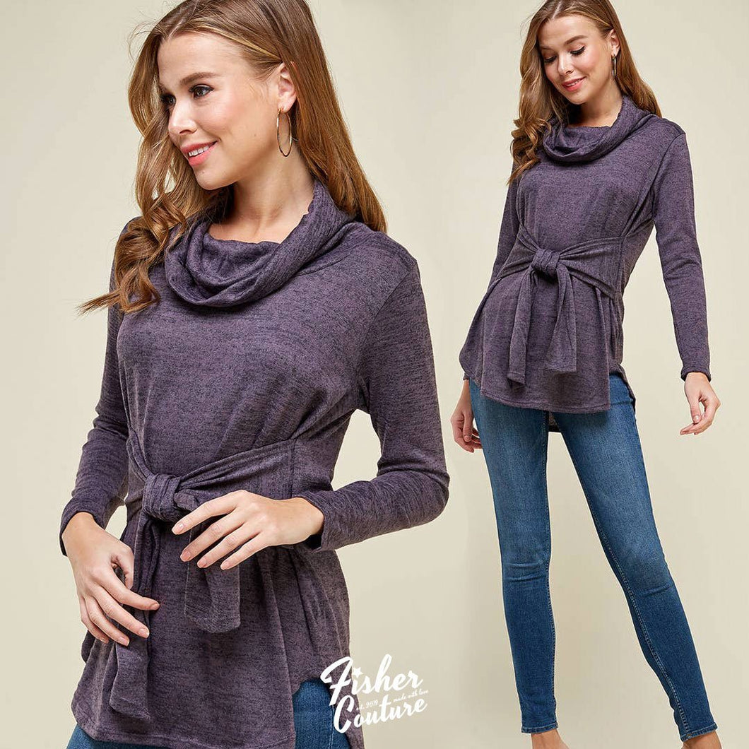 Tie Front Turtle Neck Sweater Pullover - Grape - Fisher Couture.com
