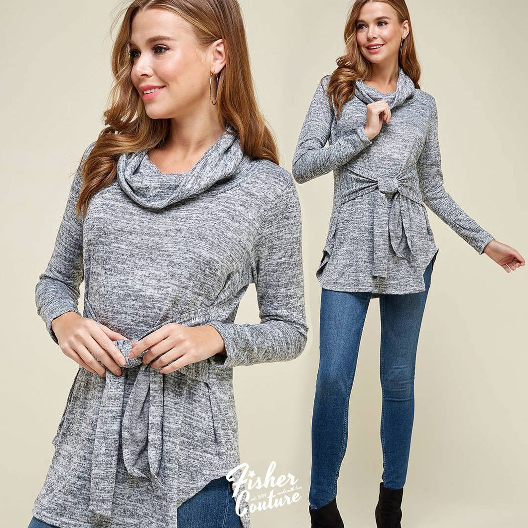 Tie Front Turtle Neck Sweater Pullover - Gray - Fisher Couture.com
