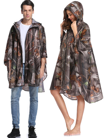 Unisex Raincoats Rain Poncho with Pocket (Camo)