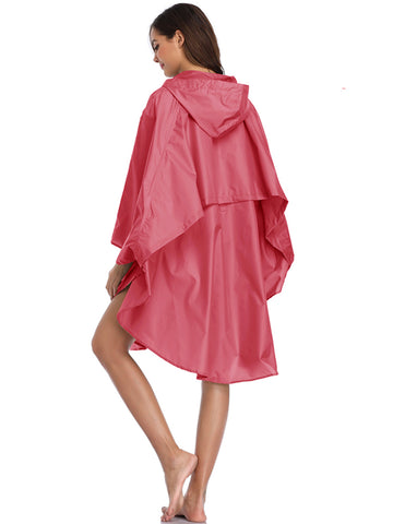 Hooded Rain Poncho with Two Pockets