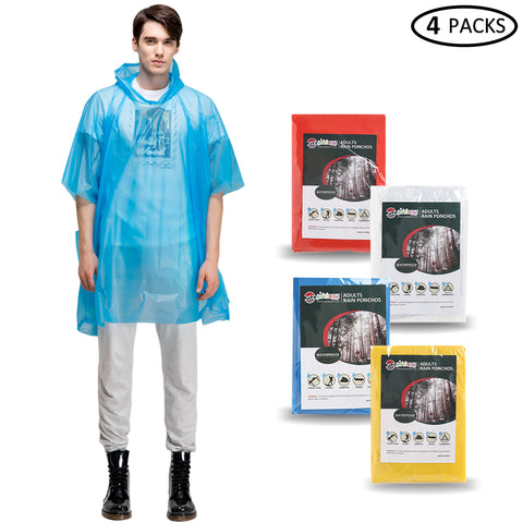 Adults Disposable Rain Ponchos (4 Packs )