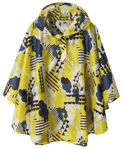 Kids Lightweight Rain Poncho Yellow Cloud