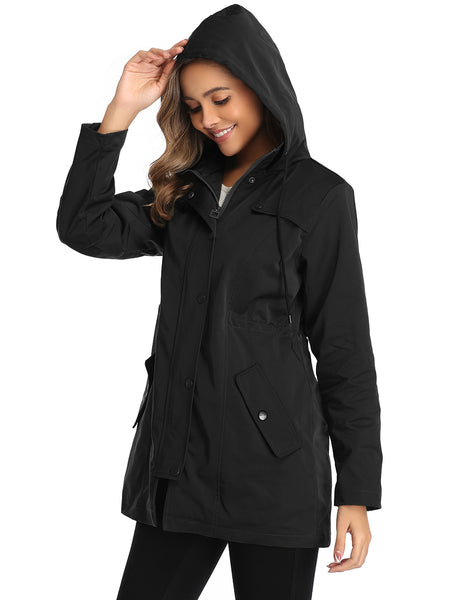 Water-resistant Women Rain Jacket with Pockets