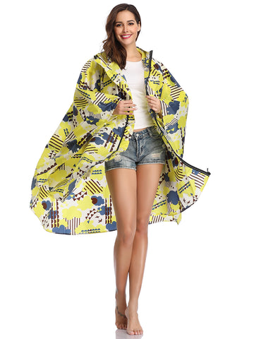 Zippered Rain Ponchos for Adults (Yellow Cloud)