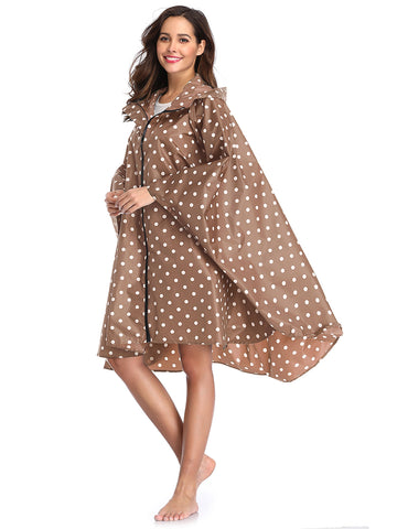 Coffee Polka Dot Women Raincoats