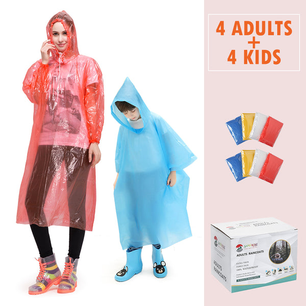Disposable Raincoats Family Pack (4 Kids +4 Adults)