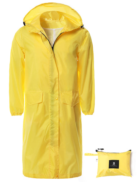 Waterproof Long Rain Jacket for Women Yellow