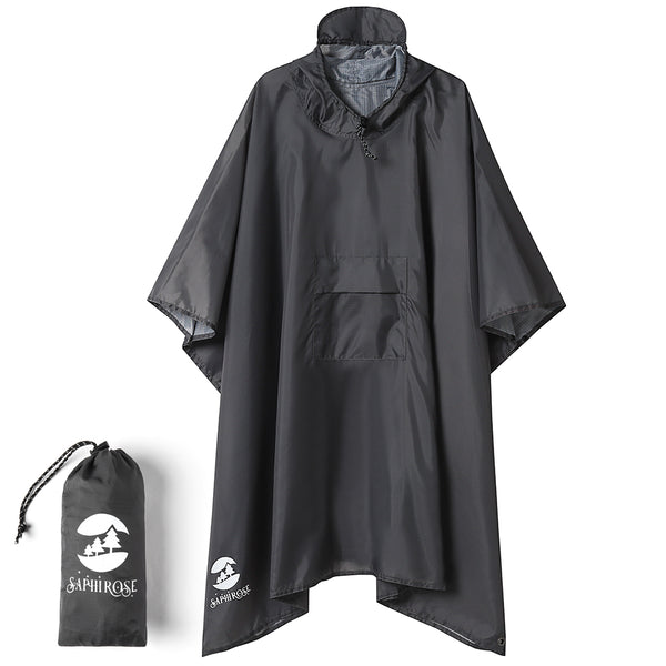 Gray Rain Poncho Coat for Men