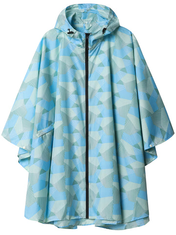 Waterproof Rain Poncho Geometric Blue / Pink