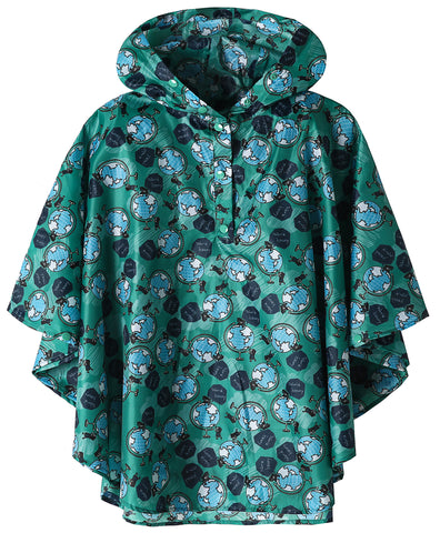 Boys Rain Poncho Coat Green Earth