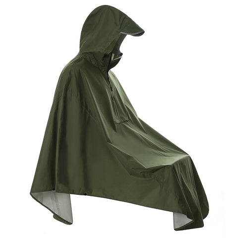 Army Green Cycling Rain Poncho with Pocket