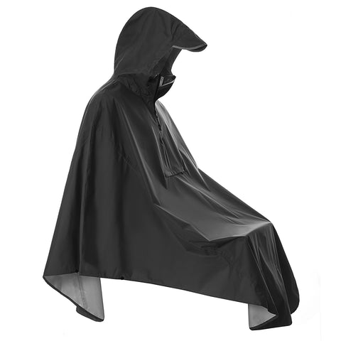 Waterproof Cycling Rain Poncho Coat with Reflective (Pocket) Black