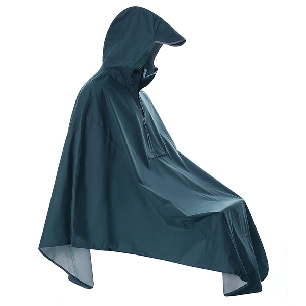 Navy Bicycle Rain Poncho with Reflective (Pocket)