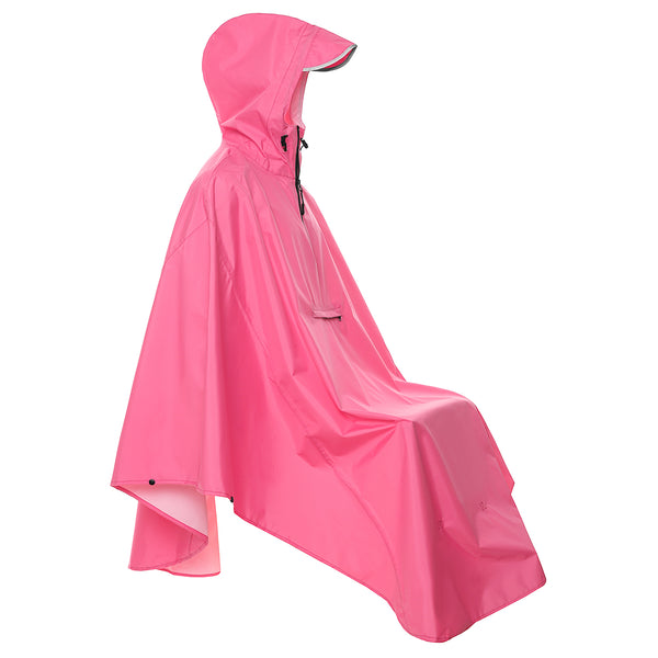 Waterproof Bicycle Raincoats with Reflective (Rose Red)