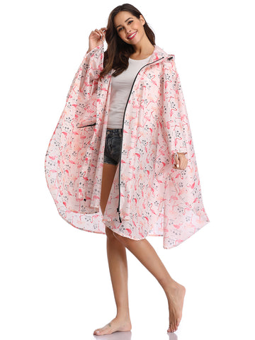 Fashion Women's Raincoats (Pink  Flamingo)