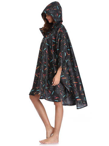 Stylish Rain Poncho with Pockets (Geometric)