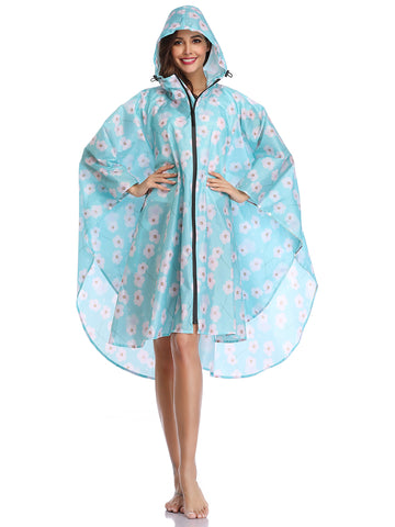 Blue White Flower Hooded Rain Poncho  with Pocket