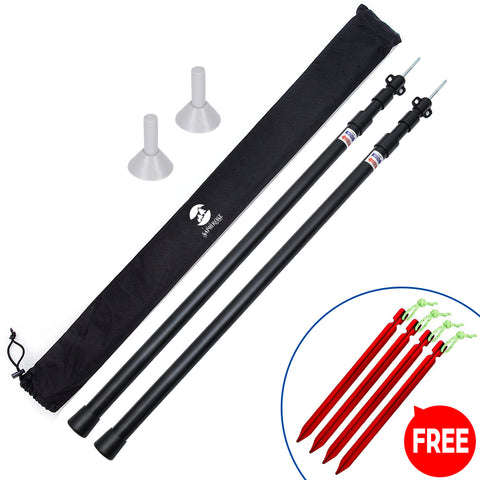 Adjustable Camping Tent Poles Set of 2 (Black)