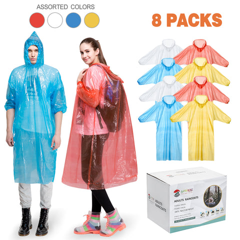 Disposable Raincoats for Adults (8 Packs )