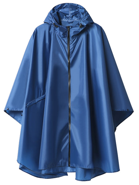 Reusable Hooded Raincoats Blue