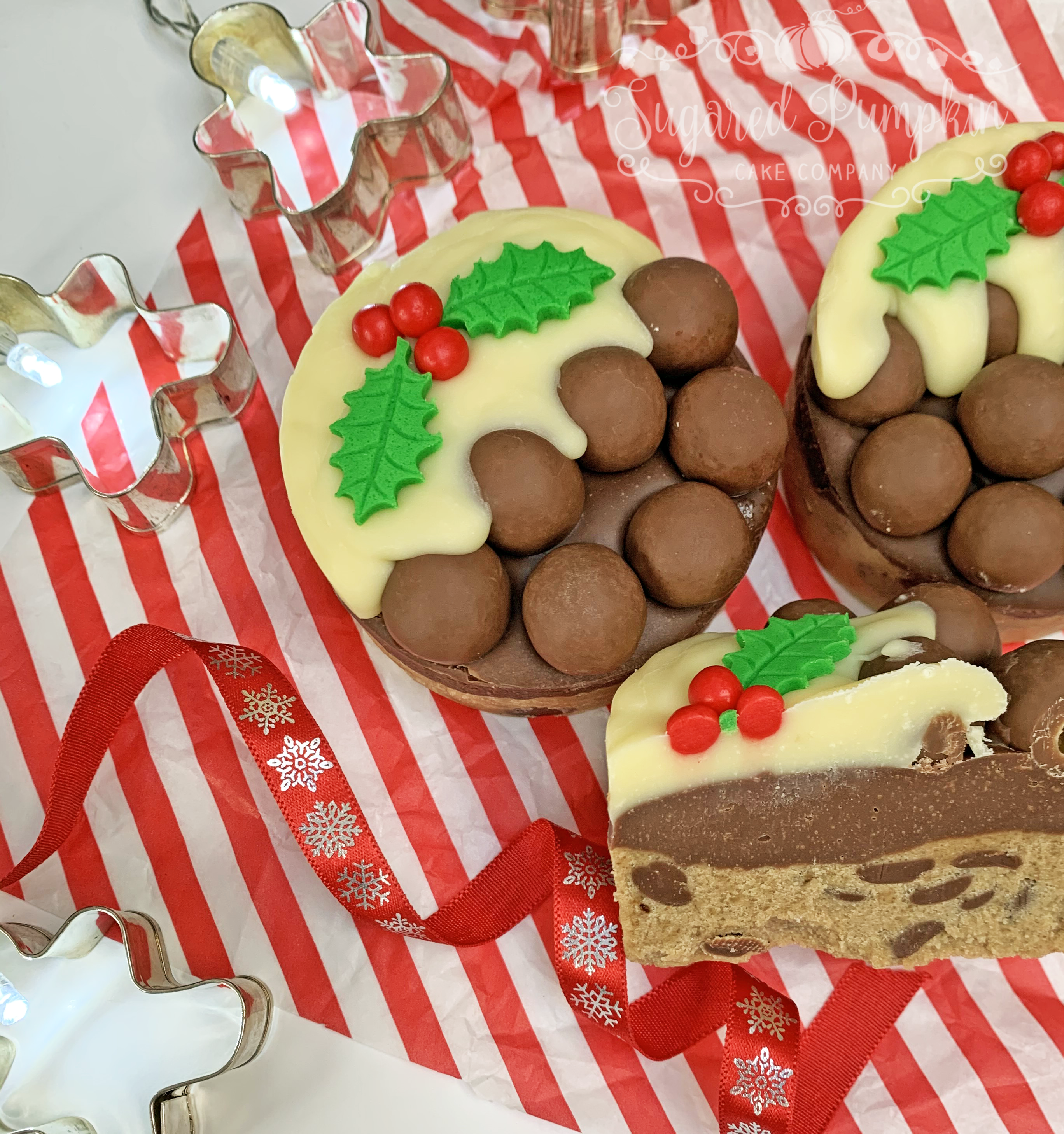 Cookie Dough Christmas Puddings