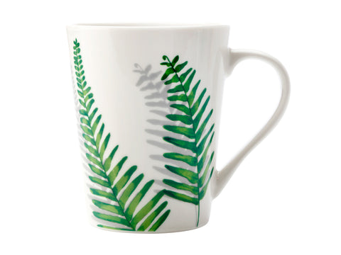 Green House Mug 420ML Ferns On White