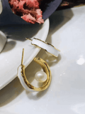 Gold & White Introvert Hoop Earrings with Fresh Water Pearls - Shop Charlies Interiors