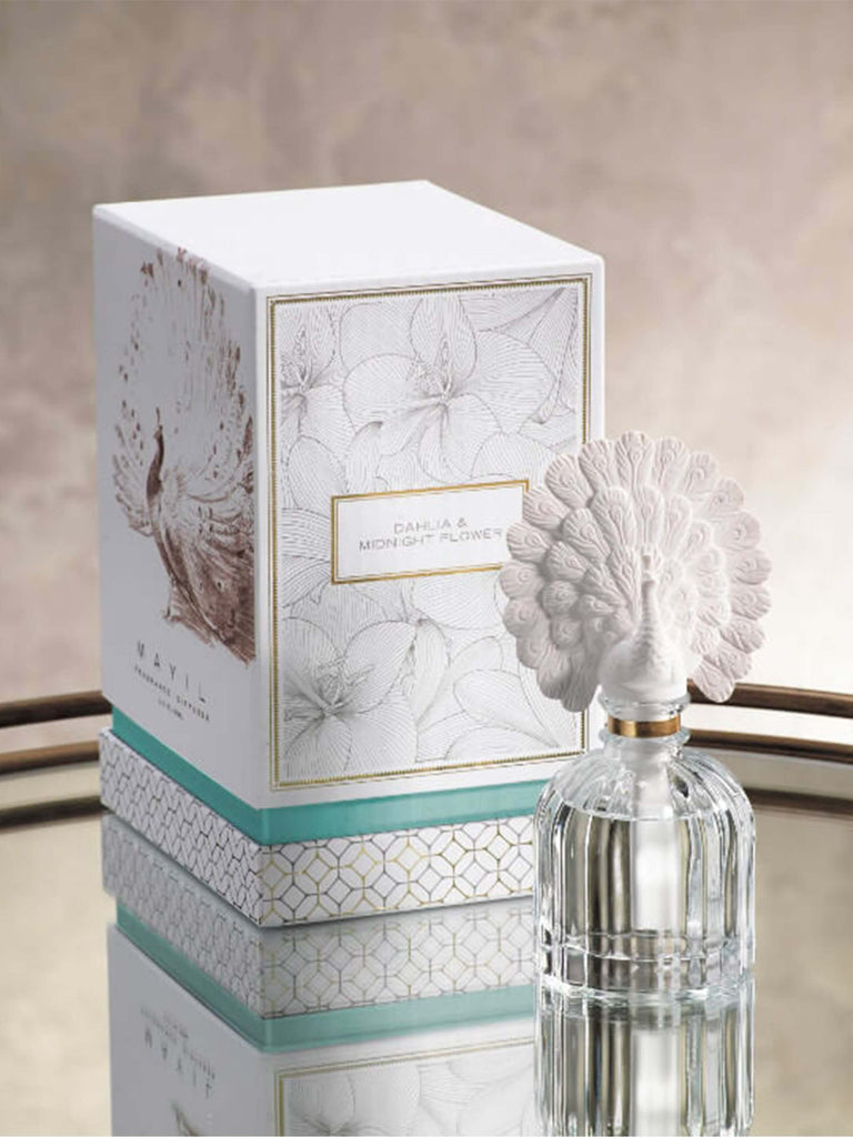 Mayil Peacock Porcelain Diffuser, Hibiscus Leaf & Jasmine - Shop Charlies Interiors
