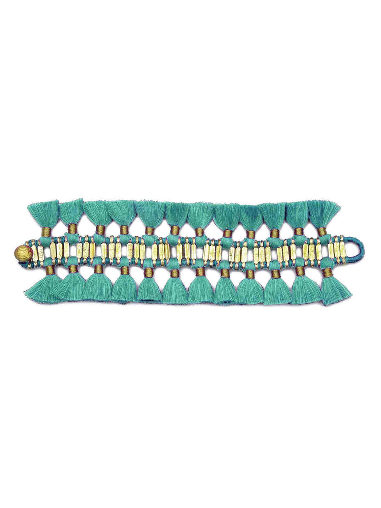 Gold Tone Fortuna Bracelet in Mint Fabric