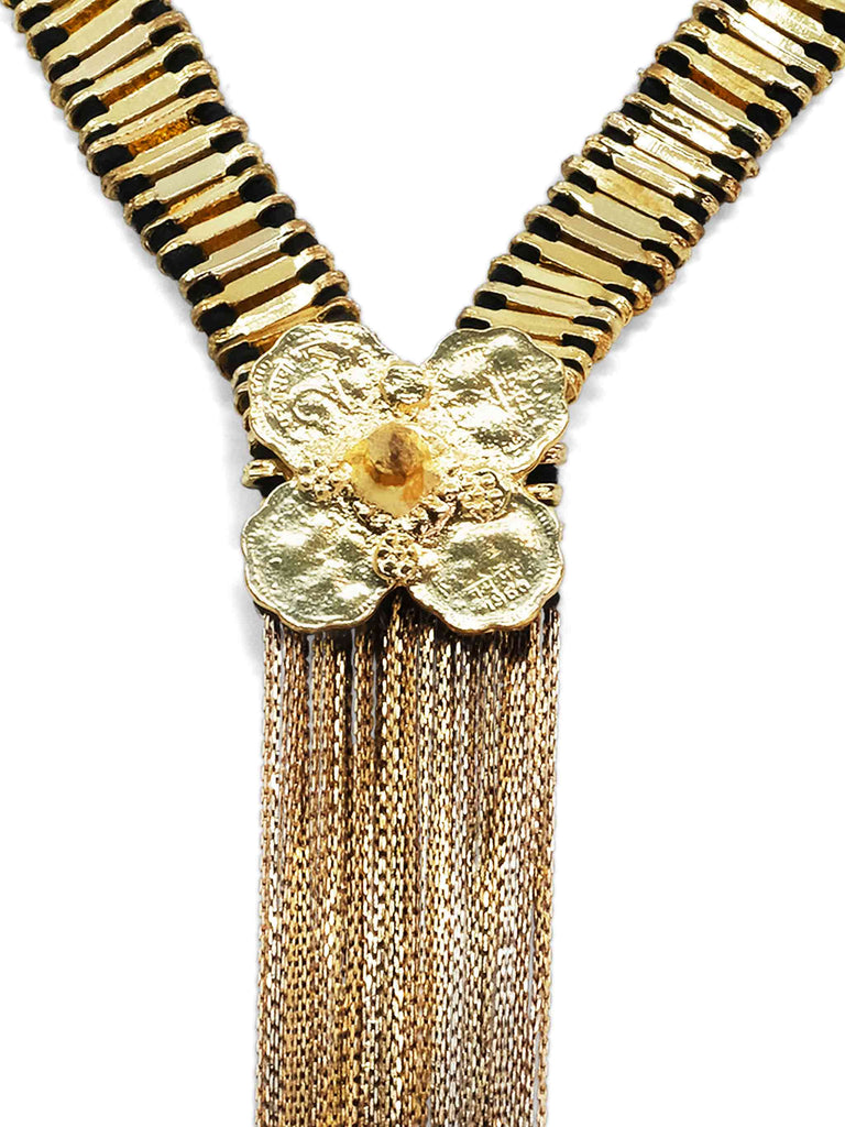 Lucky Goddess Flower Vermeil Chain Fringe Necklace with Black Cords