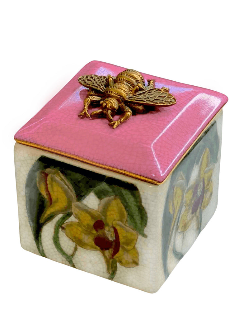 Porcelain Trinket Box Bifrenaria with Bee Lid by C.A.M.