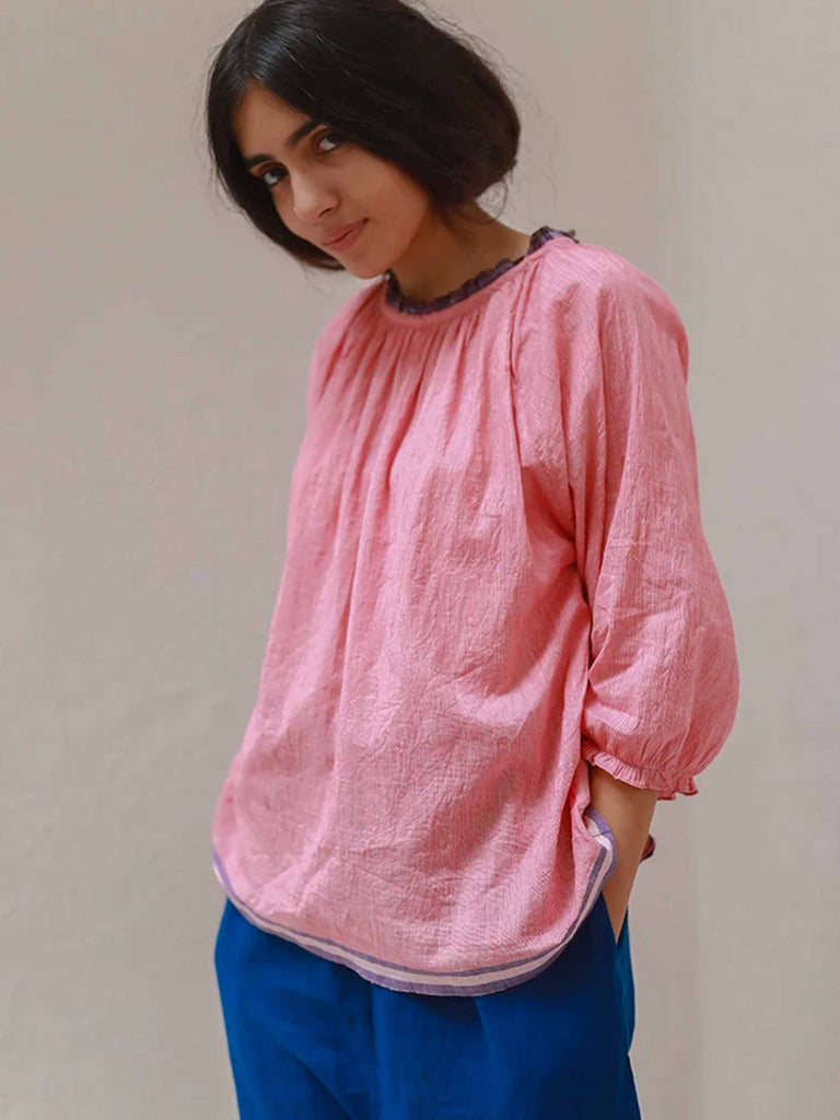 Aby Pink Checked Cotton Gathered Top