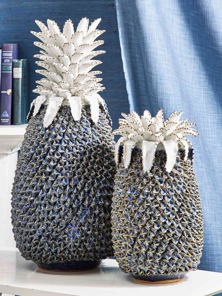 Ceramic Pineapple Vase Blue and White 46cm Height - Shop Charlies Interiors